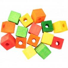 Cubes Multicolores en Bois Percés - Pièces de Jouet pour Oiseaux - Medium - 15 Pièces