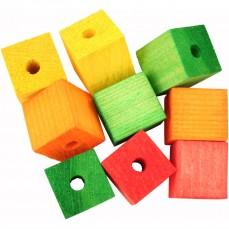 Cubes Multicolores en Bois Percés - Pièces de Jouet pour Oiseaux - Large - 9 Pièces