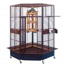 Cage d'Angle Perroquet KING'S CAGES - Modèle 509 Cuivre
