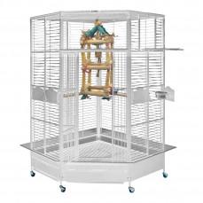 Cage d'Angle pour Perroquet KING'S CAGES - Modèle 509 Blanc