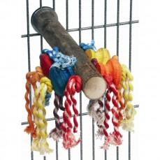 Perchoir Cactus Large avec Perles en Bois et Corde de Coton pour Perruches et Perroquets