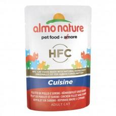 Almo Nature - HFC Sachet de Pâtée Cuisinée au Filet de Poulet et Surimi pour Chat - 55 gr