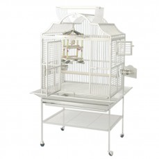 Cage Perroquet KING'S CAGES - Modèle 3224 Blanc - Espacement 19 mm