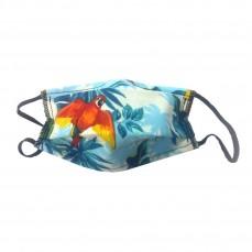 Masque en Tissu Lavable - Bleu Turquoise Motif Perroquets - Taille Enfant