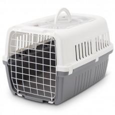 Savic - Cage de Transport pour Chat et Animaux Zephos 2 avec Toit Ouvrant - Blanc et Gris Froid