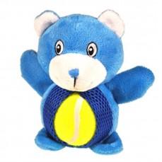 Jouet sonore pour Chien - Ours Bleu avec Balle de Tennis - 15 cm