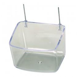 Mangeoire Transparente profonde à Crochets Métalliques - 400 ml