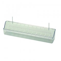 Mangeoire à Râtelier en Plastique Transparent avec Crochets en Fer - 30 cm