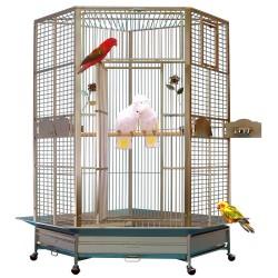 Cage d'Angle pour Perroquet KING'S CAGES - Modèle 509 Inox