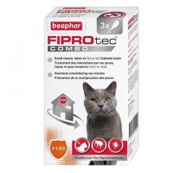 Fiprotec Combo - Pipettes Anti Puces et Anti Tiques pour Chats et Furets - 3 pipettes