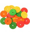 Disques Multicolores en Bois Percés - Pièces de Jouet pour Oiseaux - Medium - 20 Pièces